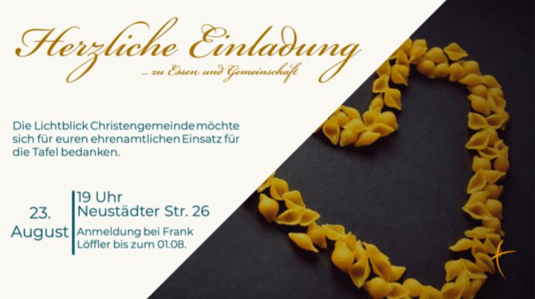 """<p style=""""font-size:11pt;"""">Lichtblick-Gemeinde Wunstorf:</p>Tafel-Mitarbeiter werden zur Tafel gebeten"""