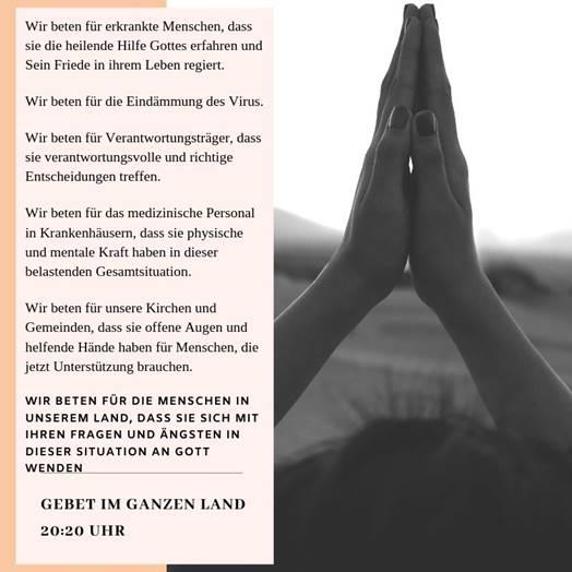 """<p style=""""font-size:11pt;"""">Evangelische Allianz in Deutschland ruft auf zum Gebet in der 'Corona-Krise'</p>Deutschland betet - in 2020 um 20:20 Uhr"""